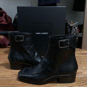 Saint Laurent miles washed leather boots